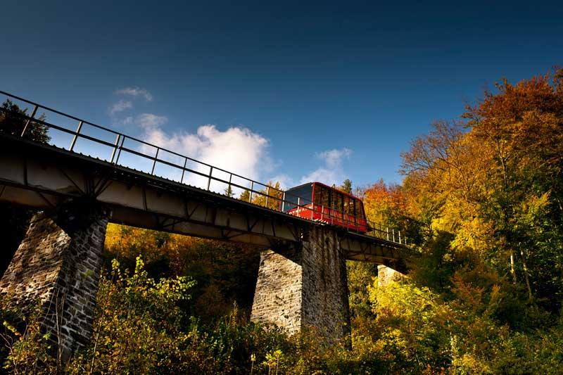 The Harder Kulm funicular takes passengers from Interlaken to Harder Kulm.