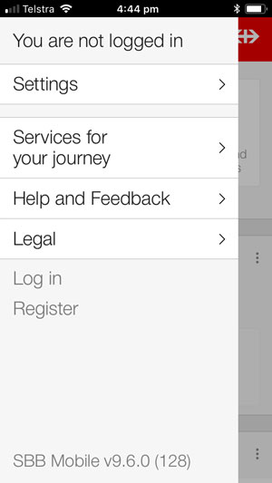 SBB app settings