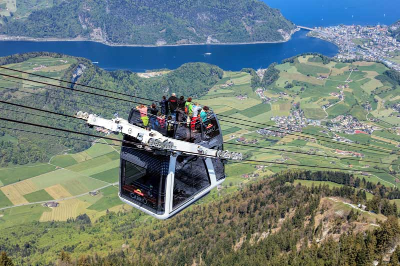 The CabriO Stanserhorn cableway has an open viewing terrace on the roof.