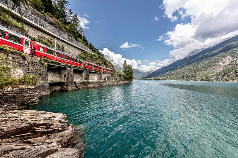 Bernina Express beside Lake Poschiavo