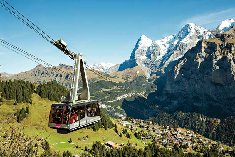 Schilthorn cableway in the Jungfrau region of Switzerland.