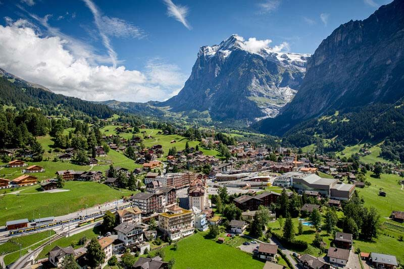 Aerial view of Grindelwald, Switzerland
