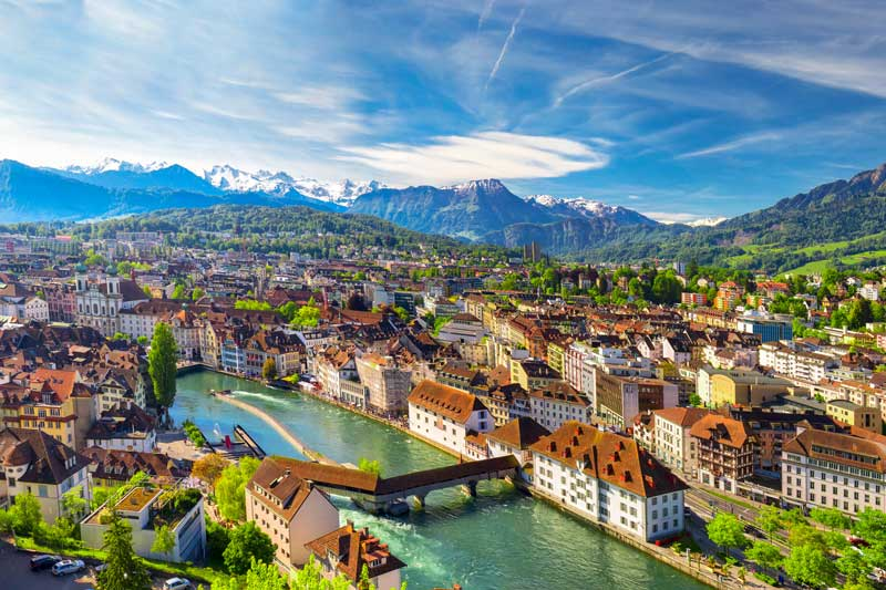 Aerial view of Lucerne Switzerland