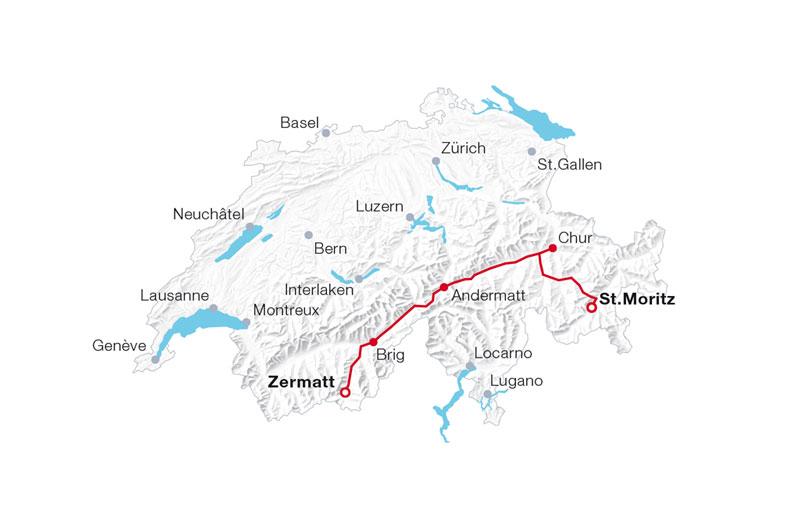 Glacier Express route map