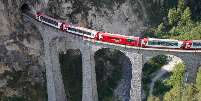 Glacier Express crossing Landwasser Viaduct
