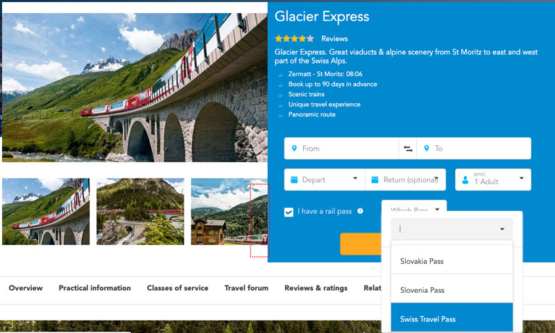 Glacier Express seat reservations