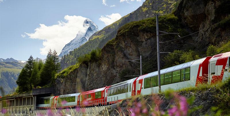 Glacier Express in front of Matterhorn.