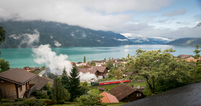Brienz Rothorn Bahn steam train beside Lake Brienz, Switzerland.