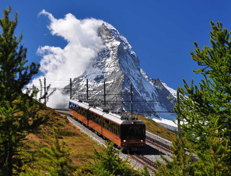 Gornergrat bahn with Matterhorn view