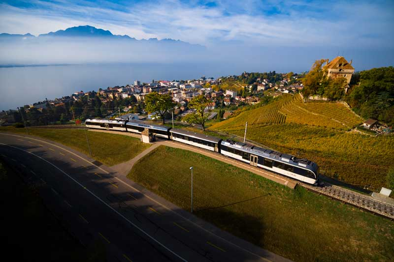 GoldenPass panoramic train near Montreux