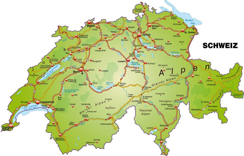 Map of Swiss motorways
