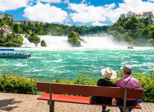 Couple overlooking Rhine Falls, Switzerland