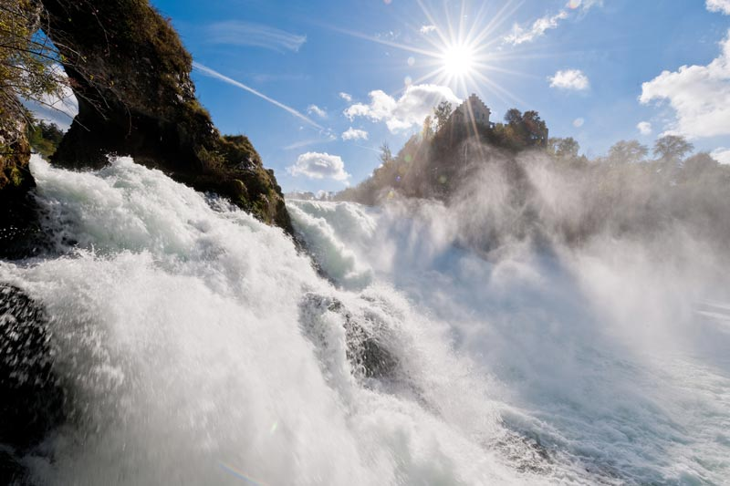 The Rhine Falls is Europe's largest and most powerful waterfall.