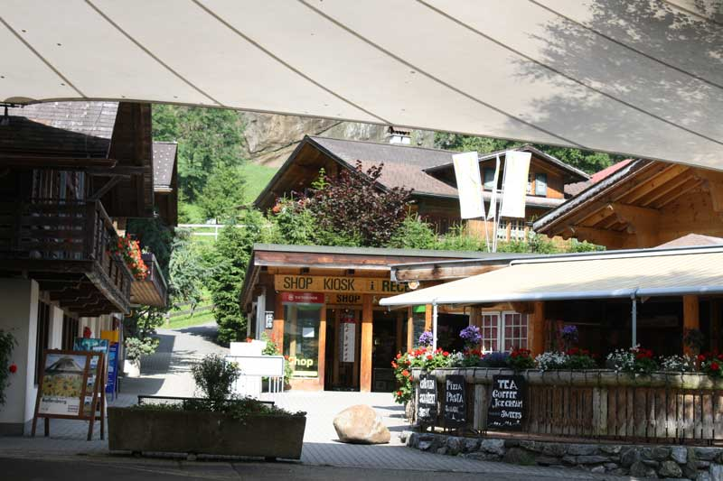 Shop and restaurant at Camping Jungfrau, Lauterbrunnen