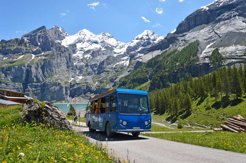 Electric shuttle bus at Oeschinen Lake, Switzerland