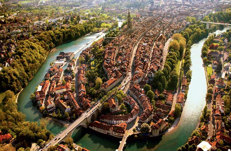Aerial view of Bern Old Town and River Aare