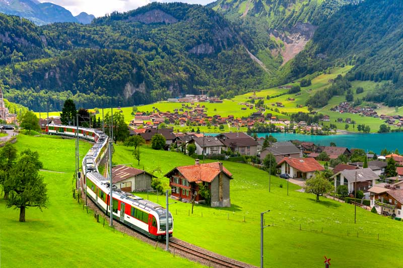 Swiss train beside Lake Lungern