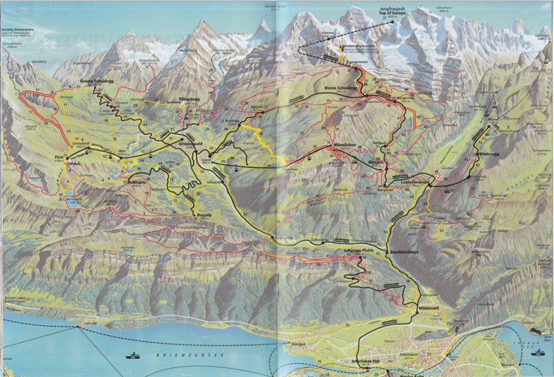 Jungfrau region railway map