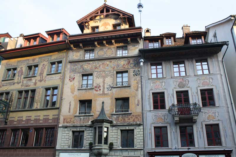Painted buildings in Lucerne's Old Town