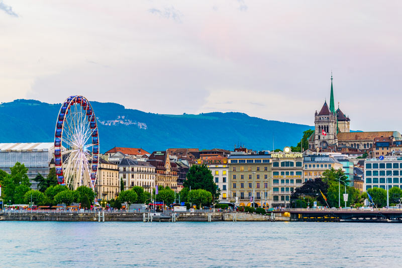 View of Geneva from lake