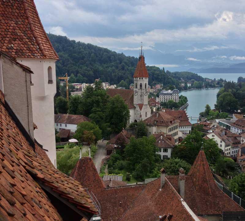 View from Thun Castle over Lake Thun