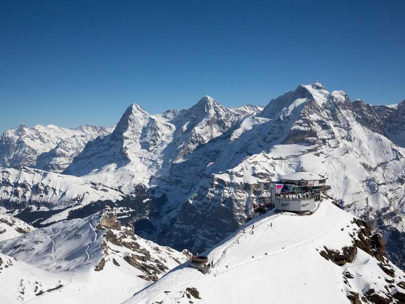 Aerial view of Schilthorn Piz Gloria summit.