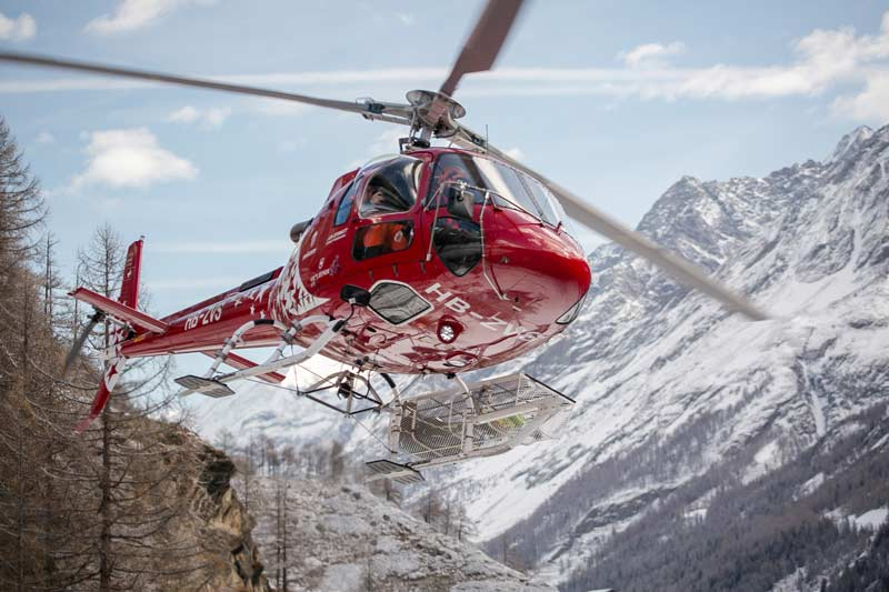Helicopter flight over the Matterhorn