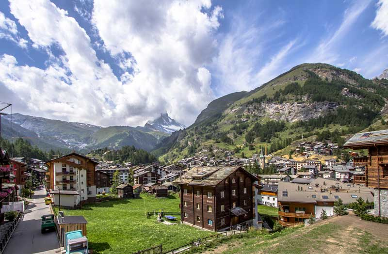 The pretty alpine village of Zermatt in Switzerland