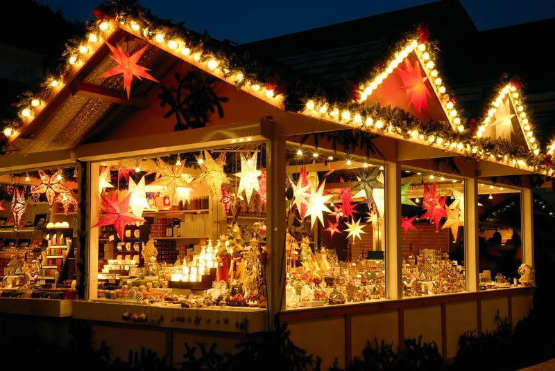 Christmas market stall at night
