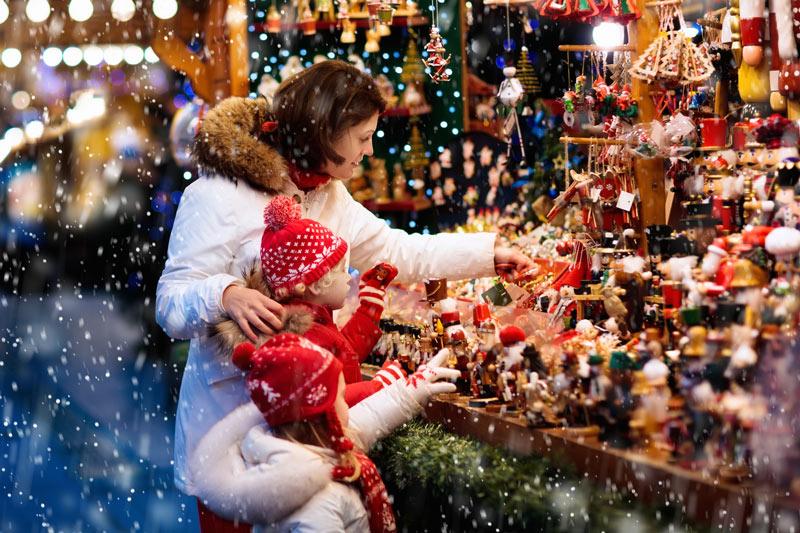 Shopping at Christmas market