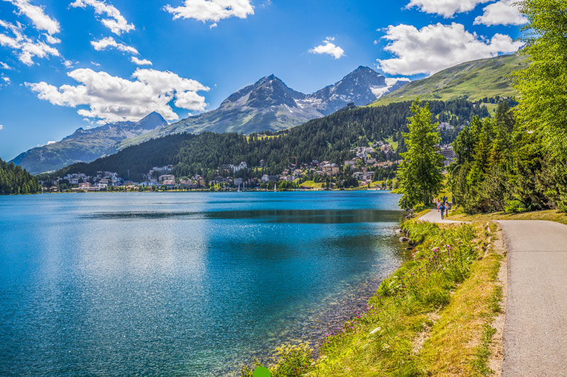 St Moritz with lake in foreground