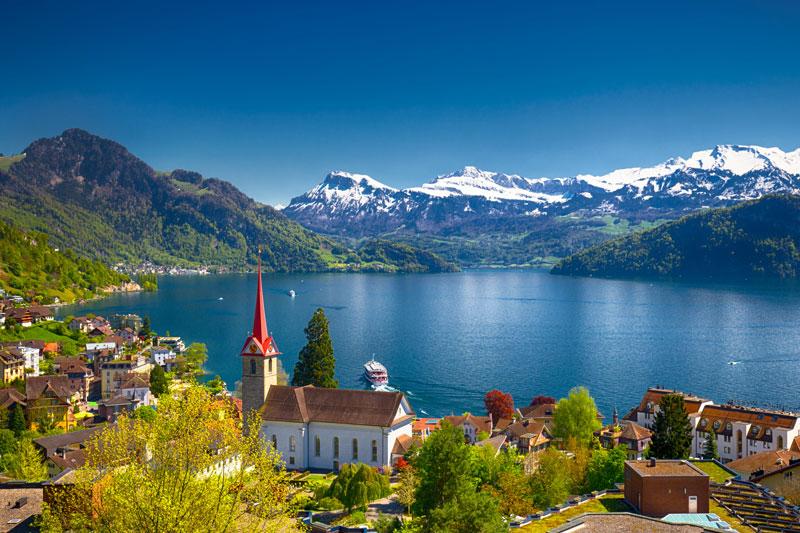 Weggis on Lake Lucerne, Switzerland