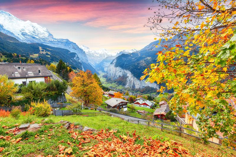 View from Wengen over Lauterbrunnen Valley