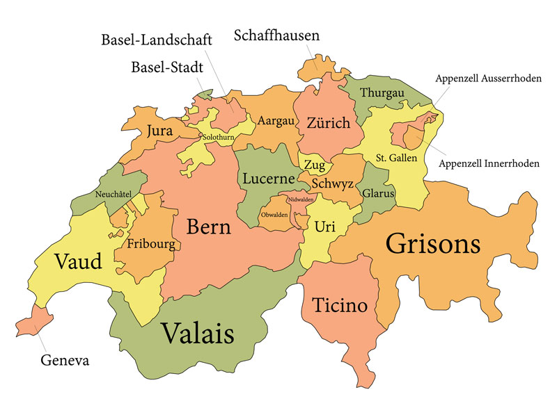 Swiss cantons map