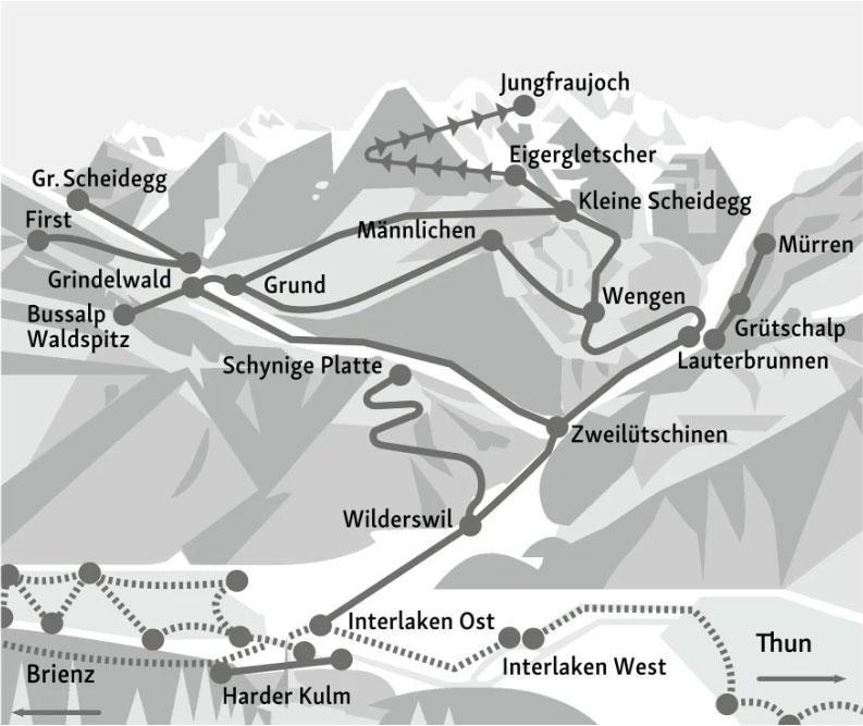 Map of Jungfrau Travel Pass validity