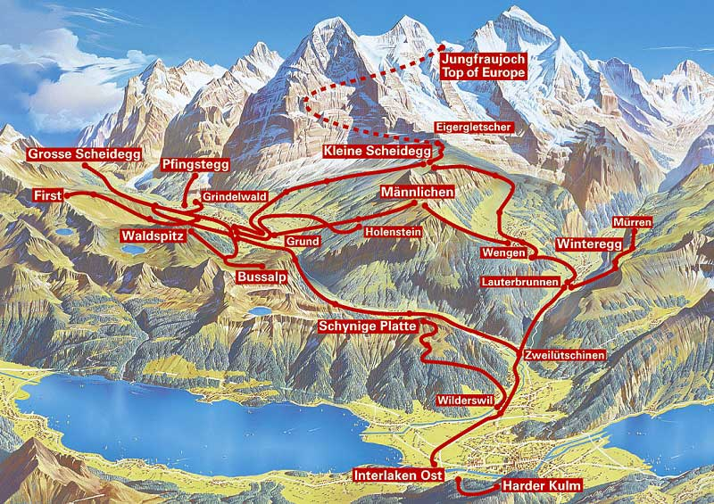 Jungfrau Travel Pass map