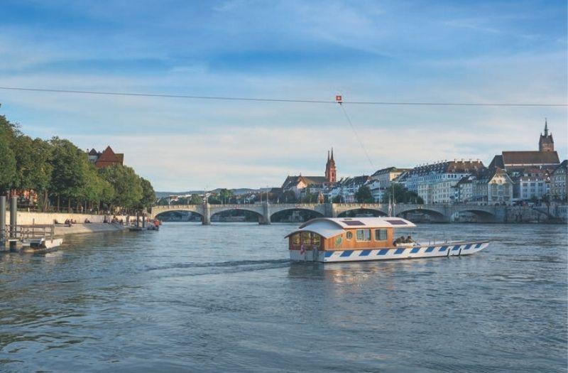 Ferry crossing the Rhine in Basel