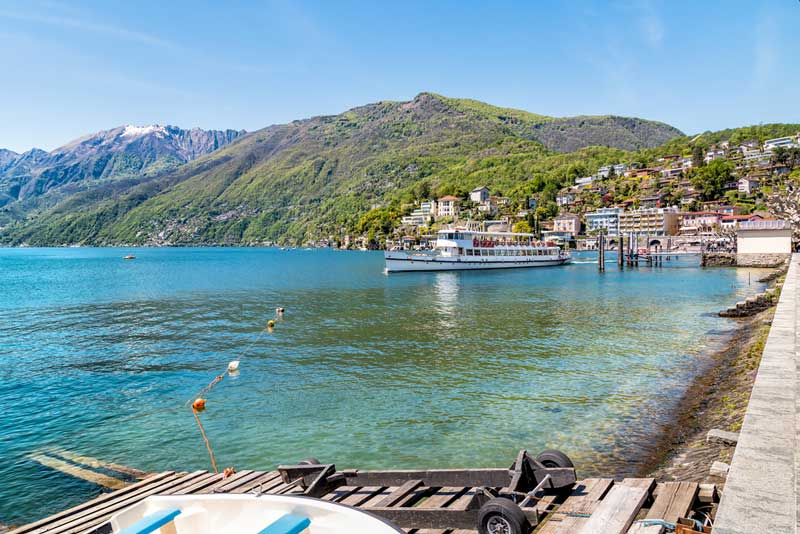 A ferry departs the harbour in Ascona, Switzerland