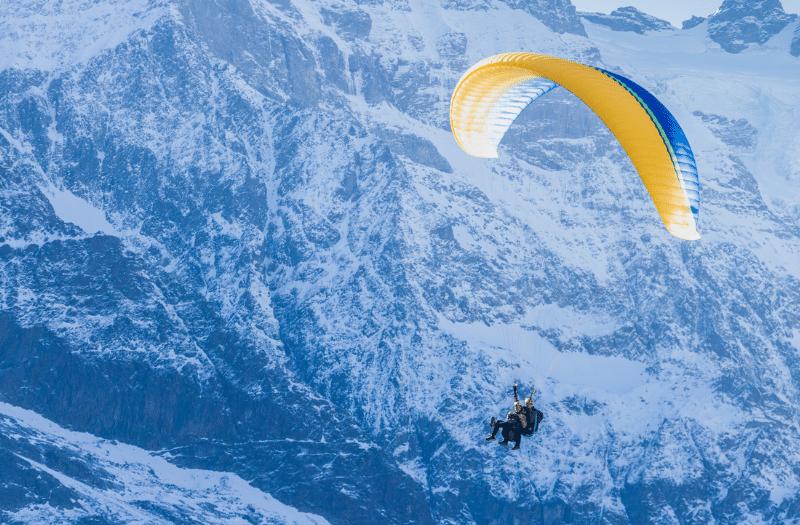 Paragliding above the Swiss Alps near Lauterbrunnen
