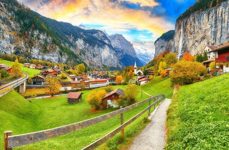 One of the many walking paths around Lauterbrunnen, Switzerland
