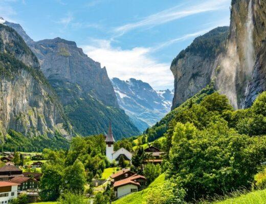 The beautiful village of Lauterbrunnen in the Jungfrau Region of Switzerland