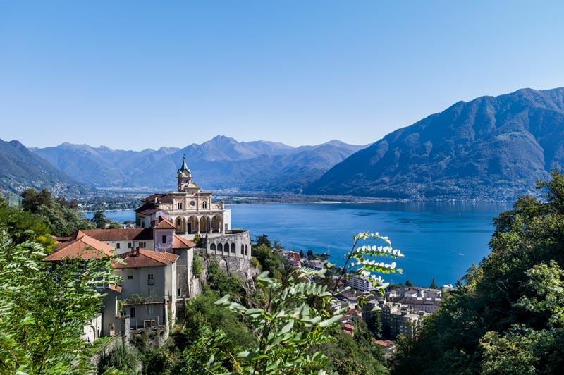 The Church of Madonna del Sasso overlooking Lake Maggiore