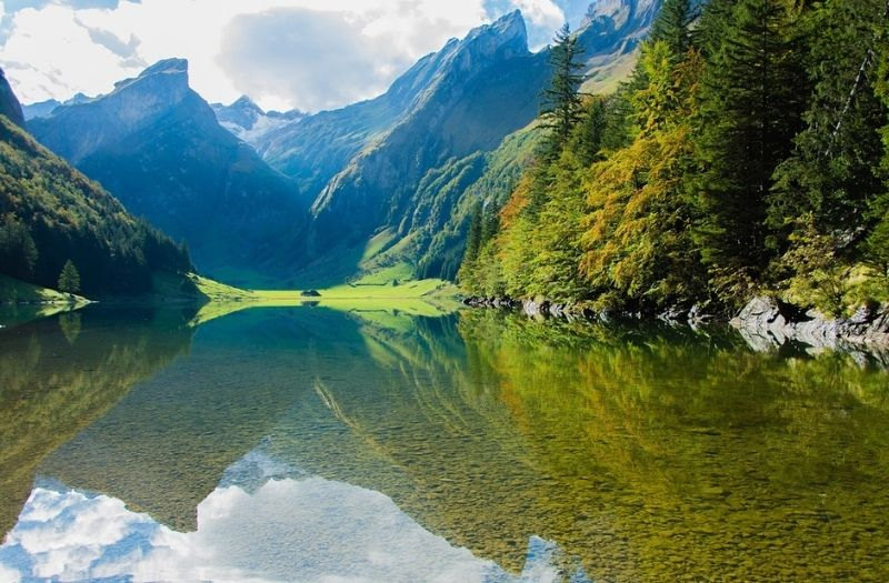 The crystal clear waters of Seealpsee