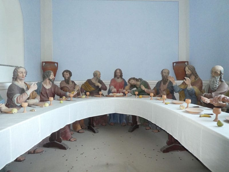 Life-size statues replicating The Last Supper on display at Madonna del Sasso.