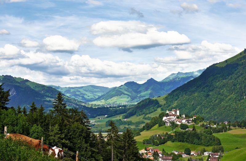 View towards Gruyeres Switzerland