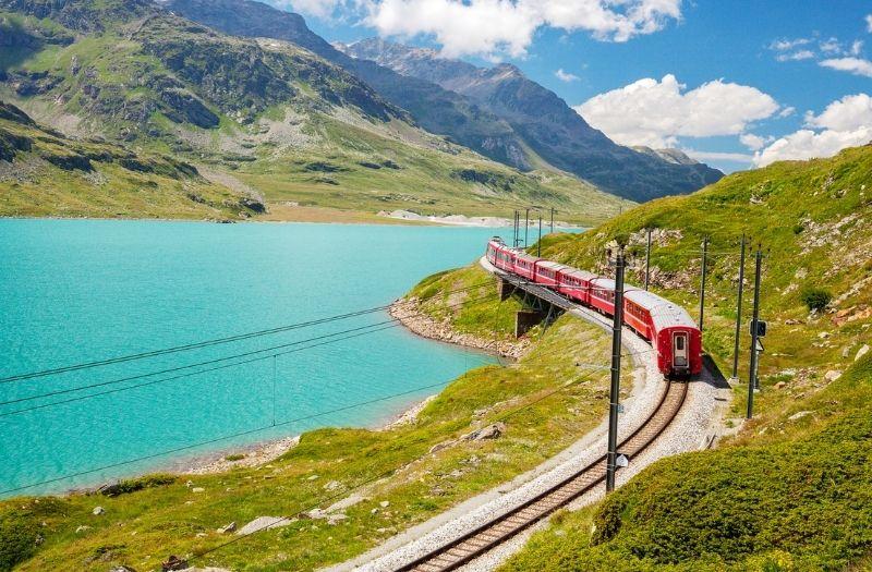 The Bernina Express passes Lago Bianco