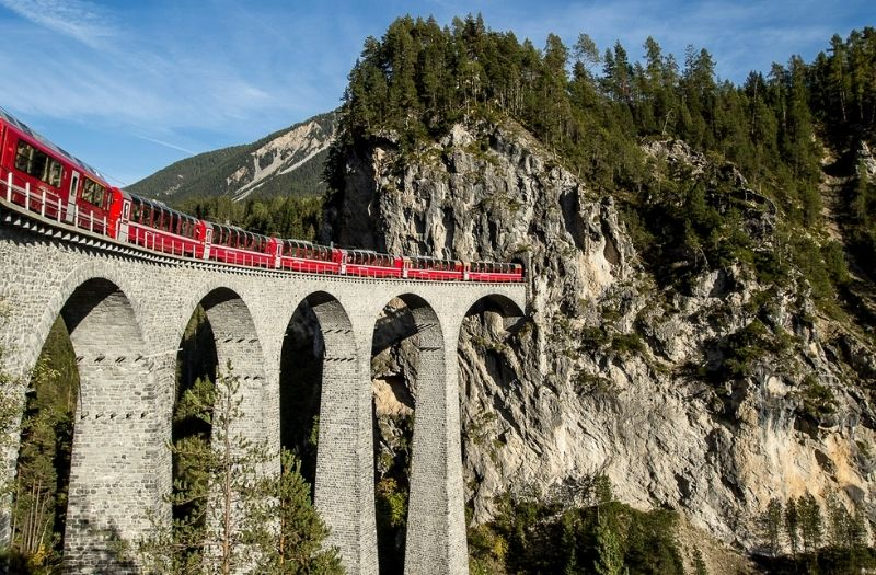 The Bernina Express train crossing the Landwasser Viaduct.