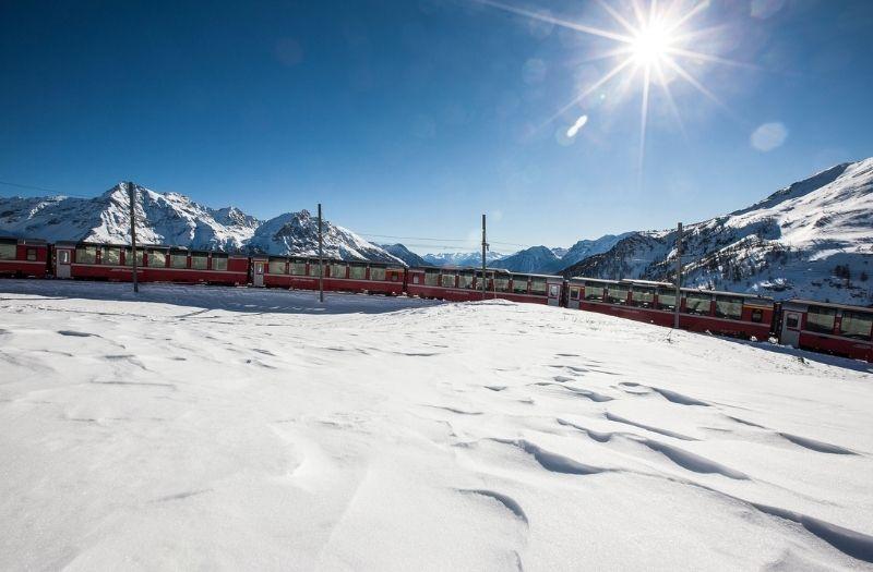 The Bernina Express in winter