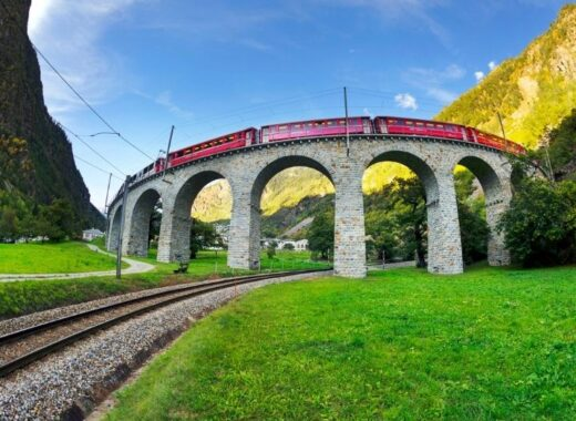 Bernina Express on Brusio Viaduct