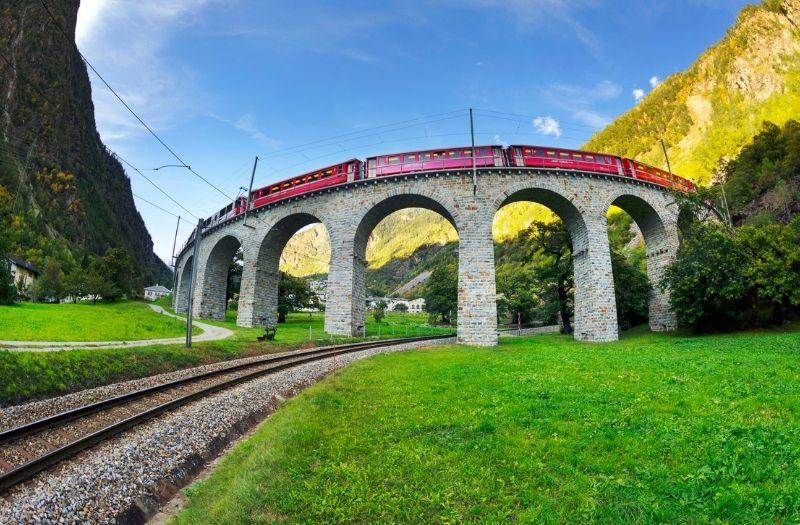 Bernina Express on Brusio Viaduct